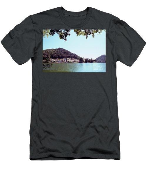 Piediluco And Piediluco Lake Men's T-Shirt (Slim Fit) by Fabrizio Ruggeri