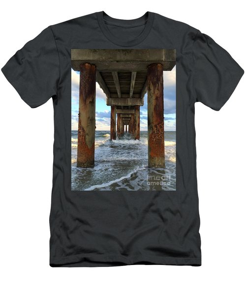 Pier In Strength And Peaceful Serenity Men's T-Shirt (Slim Fit) by Cindy Croal