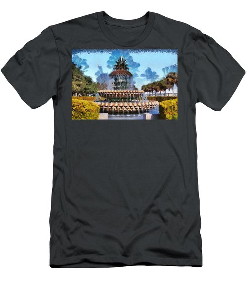 Men's T-Shirt (Slim Fit) featuring the painting Pineapple Fountain by Lynne Jenkins