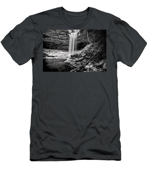 Piney Falls In Black And White Men's T-Shirt (Athletic Fit)