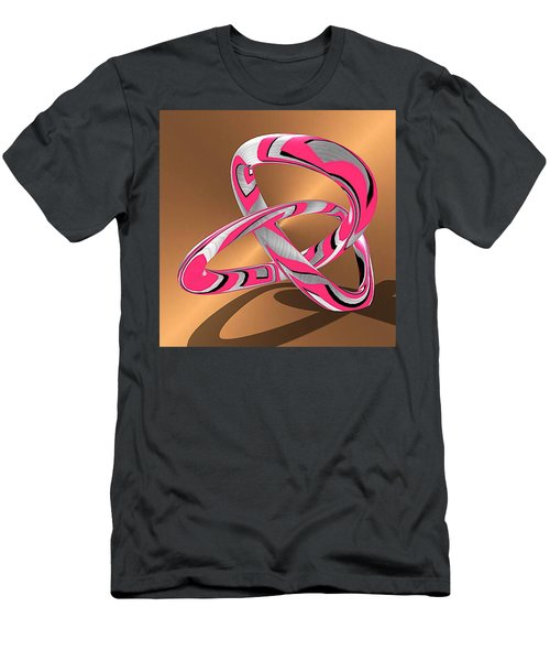 Pink Abstract On Gold Men's T-Shirt (Athletic Fit)
