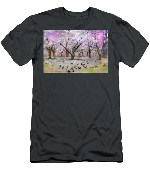 Men's T-Shirt (Slim Fit) featuring the photograph Pink And White Spring Blossoms - Boston Common by Joann Vitali