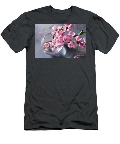 Pink Cherry Blossom Men's T-Shirt (Slim Fit) by Anastasy Yarmolovich