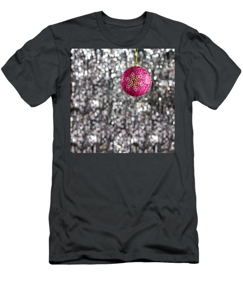 Men's T-Shirt (Slim Fit) featuring the photograph Pink Christmas Bauble by Ulrich Schade