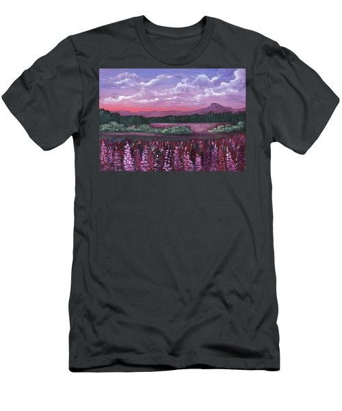 Men's T-Shirt (Athletic Fit) featuring the painting Pink Flower Field by Anastasiya Malakhova