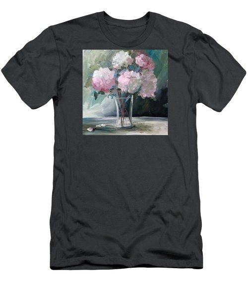 Pink Peonies Men's T-Shirt (Slim Fit) by Terri Einer
