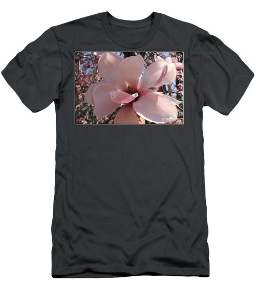 Pink Magnolia In Full Bloom Men's T-Shirt (Slim Fit) by Dora Sofia Caputo Photographic Art and Design