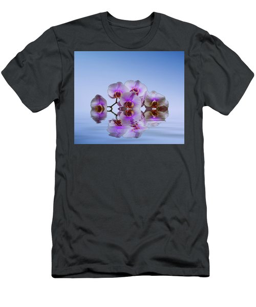 Pink Orchids Blue Background Men's T-Shirt (Slim Fit) by David French