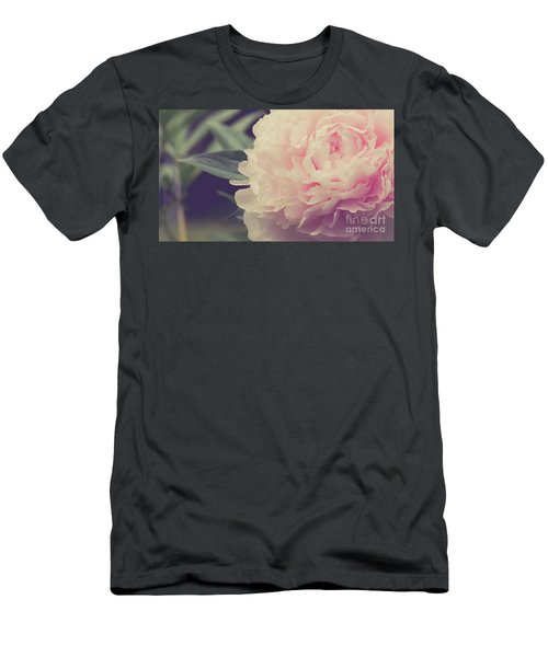 Men's T-Shirt (Athletic Fit) featuring the photograph Pink Peony Vintage Style by Edward Fielding