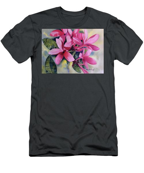 Pink Plumeria Flowers Men's T-Shirt (Athletic Fit)
