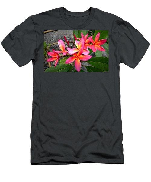 Pink Plumerias Men's T-Shirt (Slim Fit) by Lori Seaman