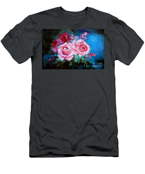 Pink Roses On Blue Men's T-Shirt (Athletic Fit)