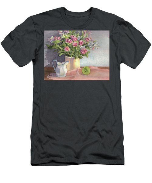 Men's T-Shirt (Slim Fit) featuring the painting Pink Roses by Vikki Bouffard