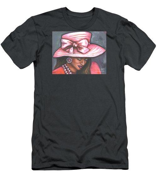 Men's T-Shirt (Slim Fit) featuring the painting Pink Satin Hat by Alga Washington
