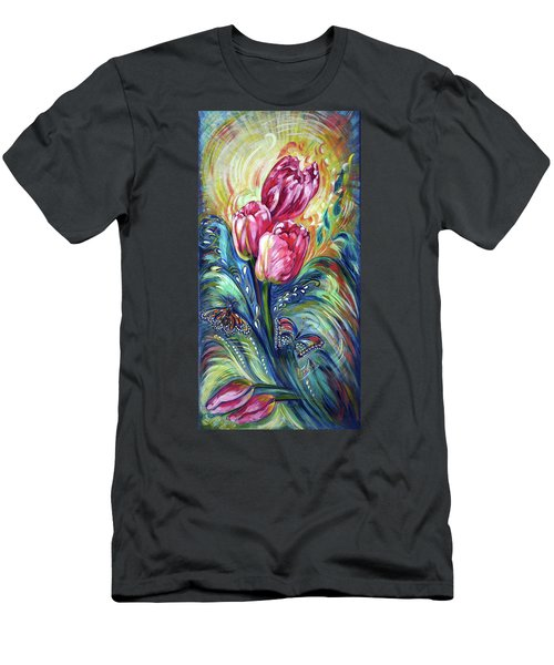 Pink Tulips And Butterflies Men's T-Shirt (Athletic Fit)