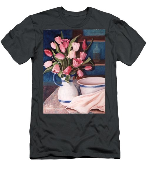 Men's T-Shirt (Slim Fit) featuring the painting Pink Tulips by Renate Nadi Wesley