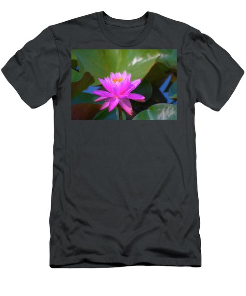 Pink Water Lilly And Ladybugs Men's T-Shirt (Athletic Fit)