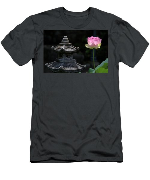 Pink Water Lily With Black Background Men's T-Shirt (Athletic Fit)