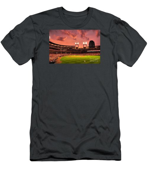 Men's T-Shirt (Slim Fit) featuring the digital art Piscotty In Left Field by William Fields