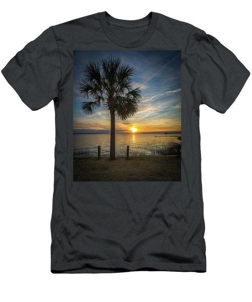 Pitt Street Bridge Palmetto Tree Sunset Men's T-Shirt (Athletic Fit)