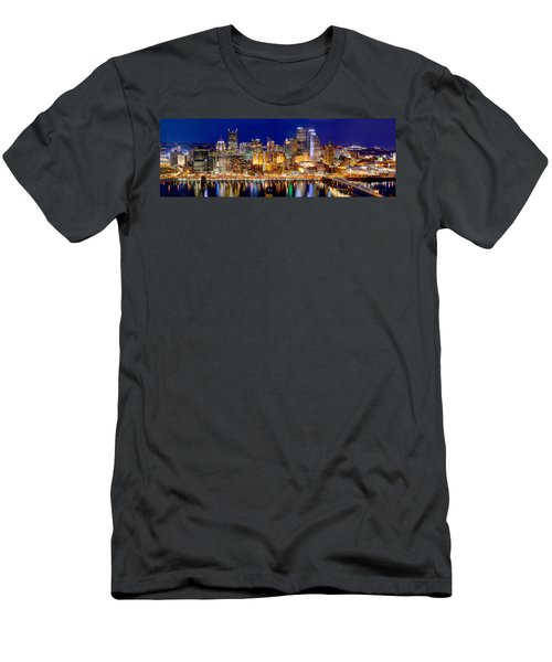 Pittsburgh Pennsylvania Skyline At Night Panorama Men's T-Shirt (Athletic Fit)
