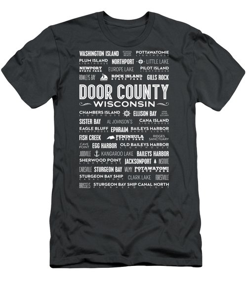 Places Of Door County On Gray Men's T-Shirt (Slim Fit) by Christopher Arndt