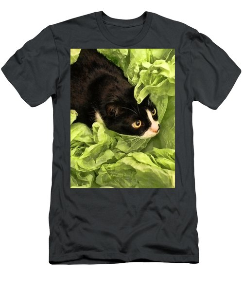 Playful Tuxedo Kitty In Green Tissue Paper Men's T-Shirt (Athletic Fit)