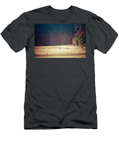 Playing Along Oceanside Oregon Men's T-Shirt (Slim Fit) by Amyn Nasser