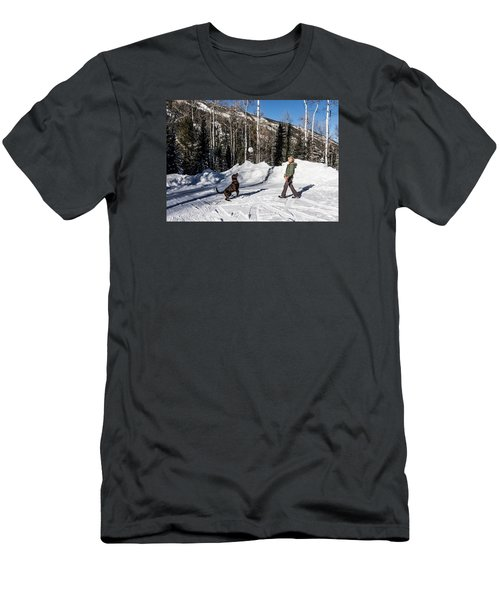 Playing Ball With A Beautiful Chocolate Lab Men's T-Shirt (Slim Fit) by Carol M Highsmith