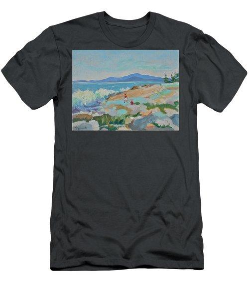 Playing On Schoodic Rocks Men's T-Shirt (Slim Fit) by Francine Frank