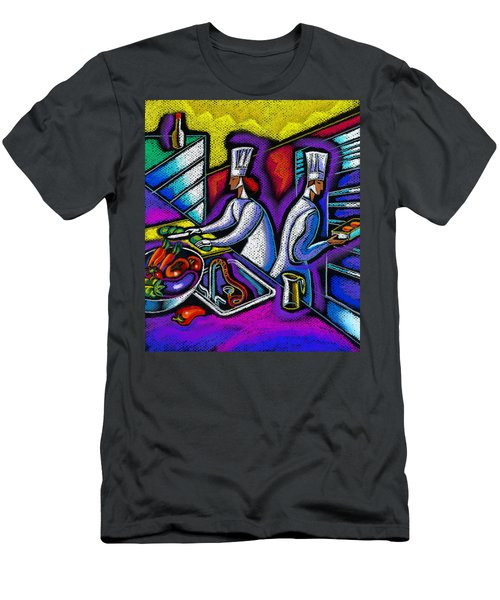 Men's T-Shirt (Slim Fit) featuring the painting  Pleasure Of The Food Preparation by Leon Zernitsky