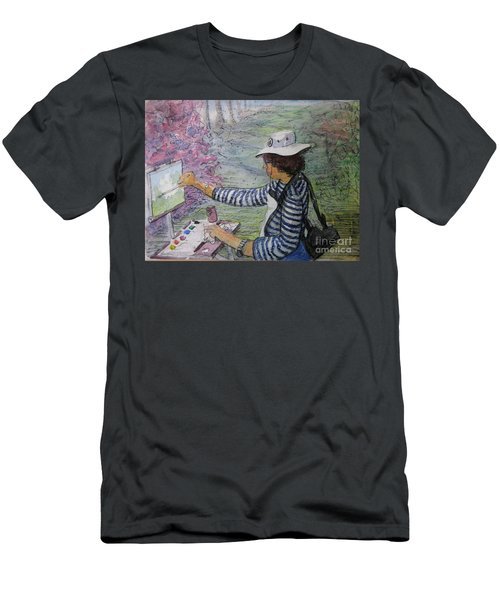 Plein-air Painter  Men's T-Shirt (Slim Fit) by Gretchen Allen