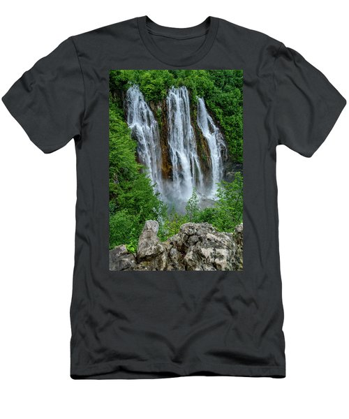Plitvice Lakes Waterfall - A Balkan Wonder In Croatia Men's T-Shirt (Athletic Fit)