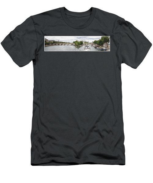 Men's T-Shirt (Slim Fit) featuring the digital art Pont Neuf Panorama by Kai Saarto