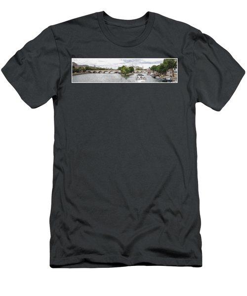 Pont Neuf Panorama Men's T-Shirt (Slim Fit) by Kai Saarto