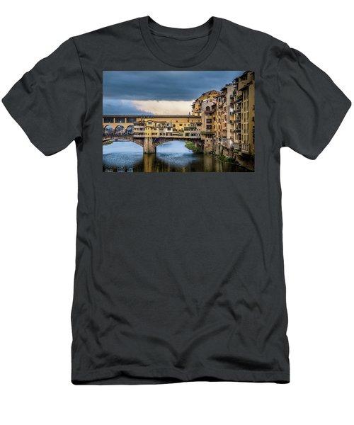 Men's T-Shirt (Slim Fit) featuring the photograph Ponte Vecchio E Gabbiani by Sonny Marcyan