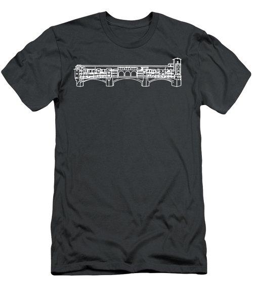 Ponte Vecchio Florence Tee White Men's T-Shirt (Slim Fit) by Edward Fielding