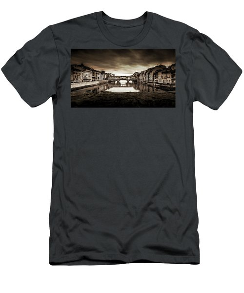 Men's T-Shirt (Slim Fit) featuring the photograph Ponte Vecchio In Sepia by Sonny Marcyan