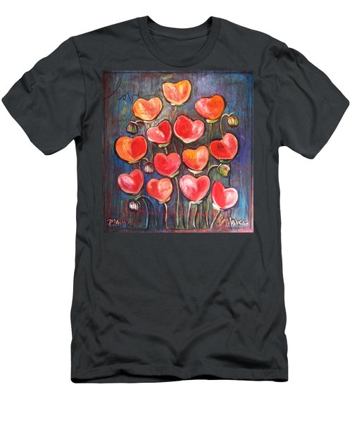 Poppies Are Hearts Of Love We Can Give Away Men's T-Shirt (Athletic Fit)