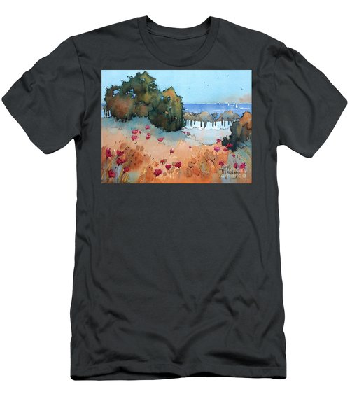 Poppies By The Sea Men's T-Shirt (Athletic Fit)