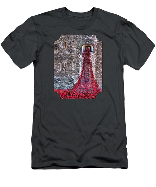 Poppy Cascade Men's T-Shirt (Slim Fit) by Gill Billington