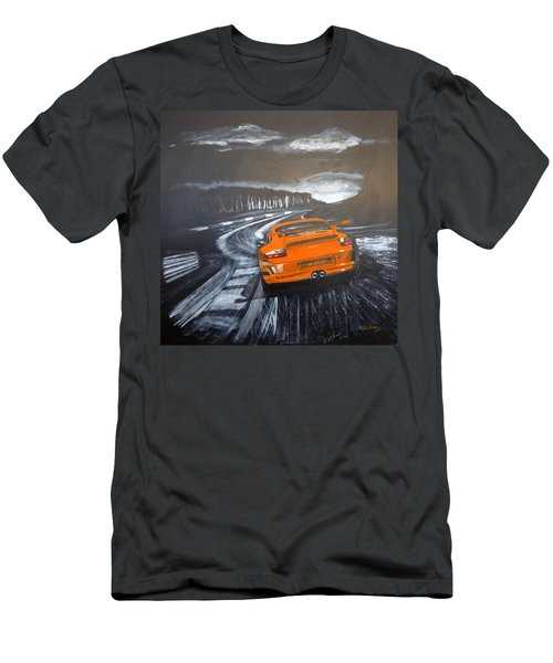 Men's T-Shirt (Athletic Fit) featuring the painting Porsche Gt3 @ Le Mans #3 by Richard Le Page