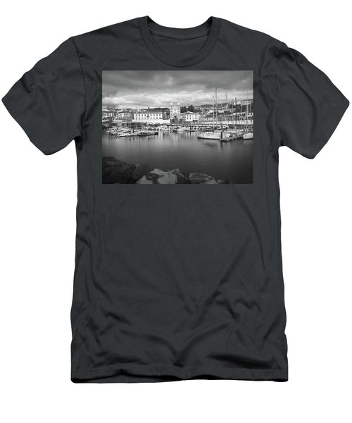 Port Of Angra Do Heroismo, Terceira Island, The Azores In Black And White Men's T-Shirt (Athletic Fit)
