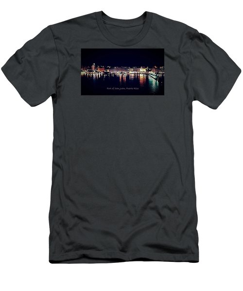 Men's T-Shirt (Slim Fit) featuring the photograph Port Of San Juan Night Lights by DigiArt Diaries by Vicky B Fuller