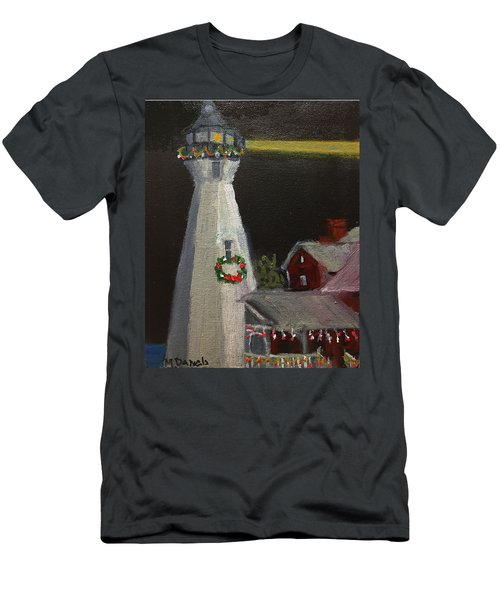 Port Sanilac Lighthouse At Christmas Men's T-Shirt (Athletic Fit)