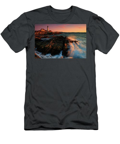 Men's T-Shirt (Slim Fit) featuring the photograph Portland Head First Light  by Emmanuel Panagiotakis
