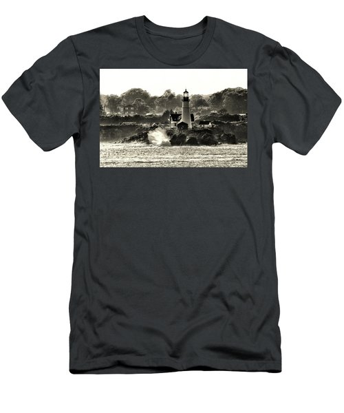 Portland Head Light At Cape Elizabeth In Black And White Men's T-Shirt (Athletic Fit)