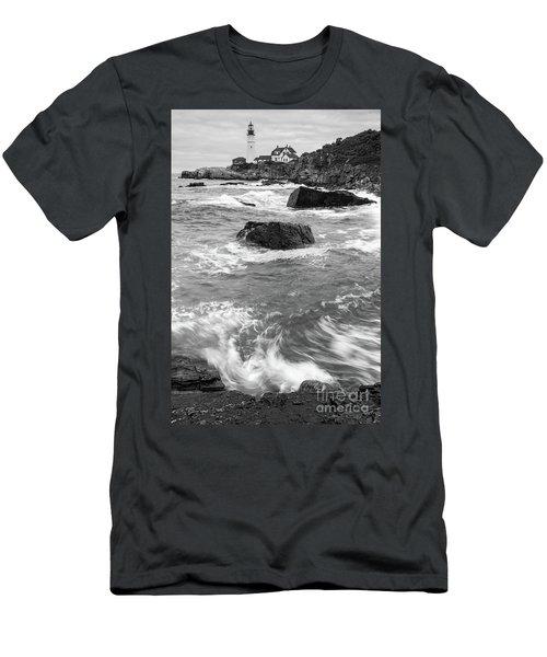 Portland Head Light Under Heavy Skies  -88356 Men's T-Shirt (Slim Fit) by John Bald