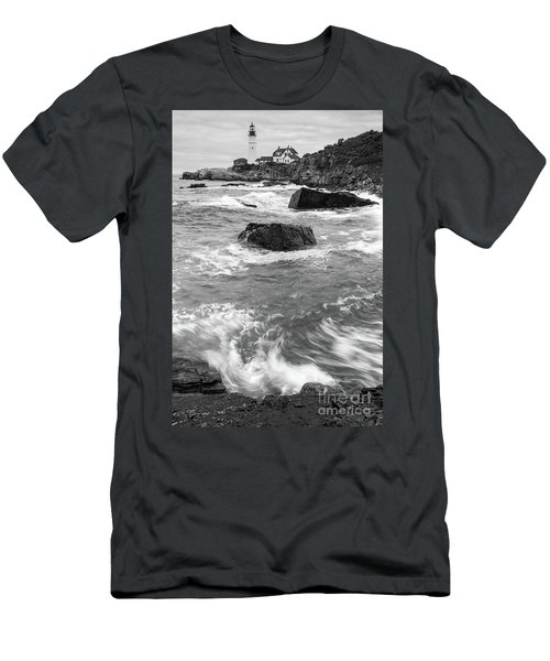 Portland Head Light Under Heavy Skies  -88356 Men's T-Shirt (Athletic Fit)
