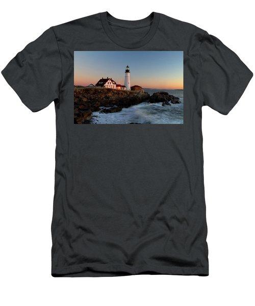 Portland Head Lighthouse Sunrise Men's T-Shirt (Slim Fit) by Betty Pauwels